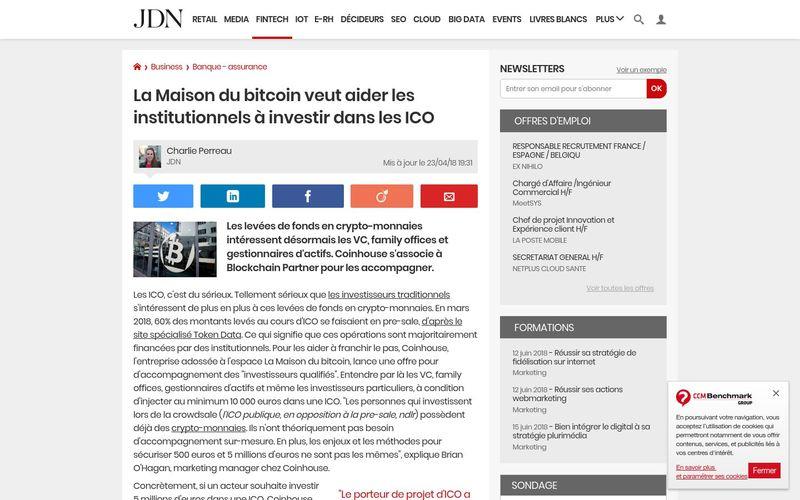 La Maison du bitcoin veut aider les institutionnels à investir dans les ICO : Journal du Net