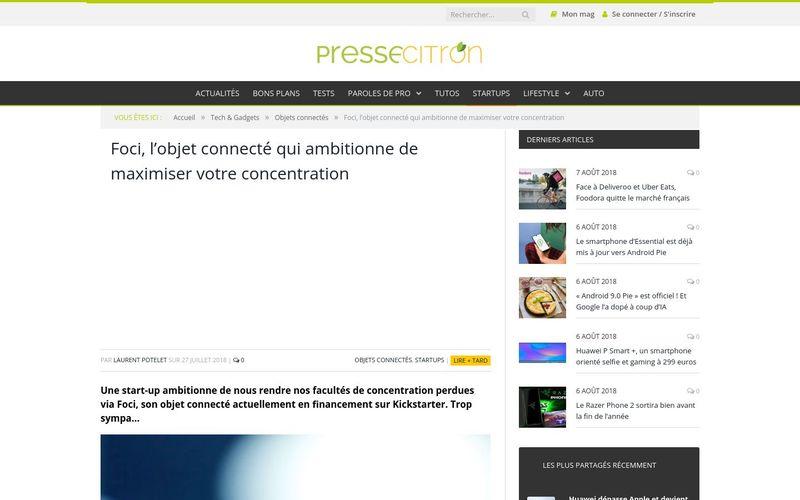 Presse Citron : Foci, l'objet connecté qui ambitionne de maximiser votre concentration